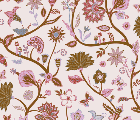 Fantasy Indian Floral - Gold, copper and cream fabric by cecca on Spoonflower - custom fabric