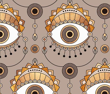 Gold Eyes - Large fabric by elisabeth_fredriksson on Spoonflower - custom fabric