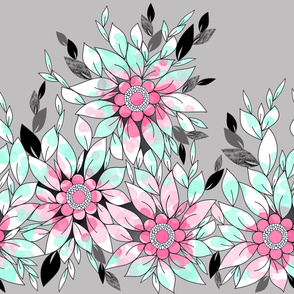 Large Flower Border in Pink, Mint and Gray for Summer by Amborela