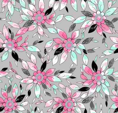 Watercolor and Ink Leaf Print in Pink , Mint, and Gray for Swimwear