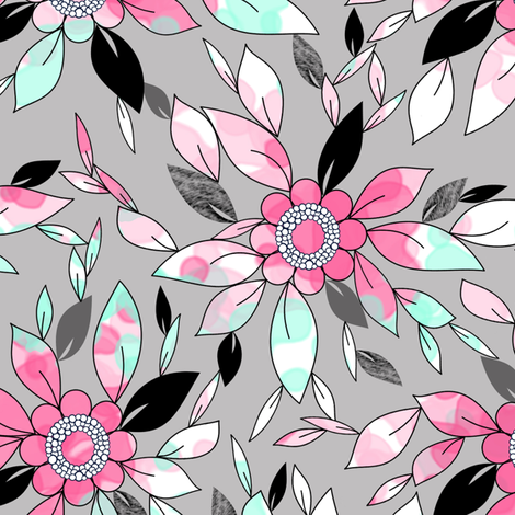 Watercolor and Ink Leaf Print in Pink , Mint, and Gray for Swimwear  fabric by amborela on Spoonflower - custom fabric