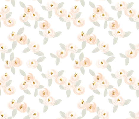 peach + gray watercolor rosette + gray leaves // large fabric by ivieclothco on Spoonflower - custom fabric