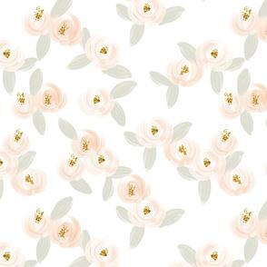 soft pink watercolor rosette + gray leaves // medium