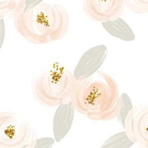 soft pink watercolor rosette + gray leaves // jumbo