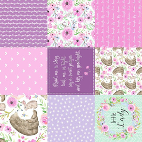 Little Lady Patchwork Quilt (ROTATED) - Woodland Bear + Bunny Floral Pink + Lavender Wholecloth Best Friends 2 Coordinate for Girls GingerLous