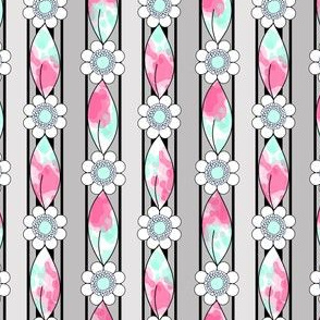 Pink, Mint and Gray Border Stripes, Flowers and Leaves Print for Summer