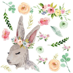 Bunny with Pastel Spring Flowers