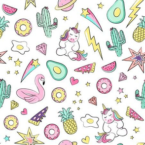 Kids, Unicorn, Flamingo, Summer Print