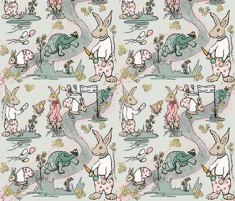 Nursery Rymes  Tortoise and the Hare fabric by salzanos on Spoonflower - custom fabric