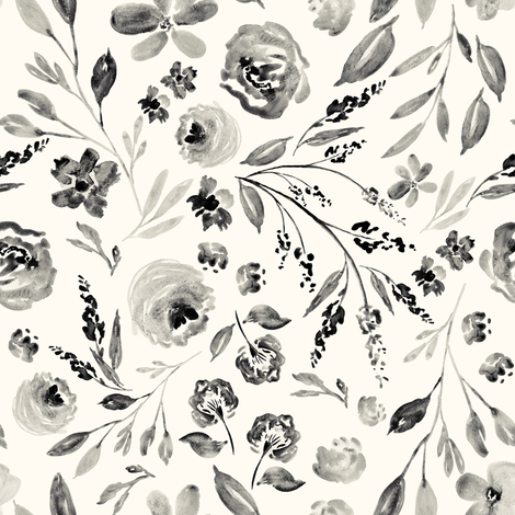 Indy Bloom Design farm house florals IVORY fabric by indybloomdesign on Spoonflower - custom fabric