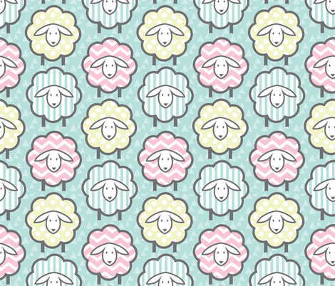 PASTEL GEOMETRIC SHEEP fabric by wxstudio on Spoonflower - custom fabric