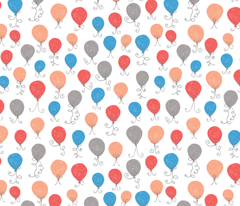 Balloons Blue Red fabric by studio_amelie on Spoonflower - custom fabric