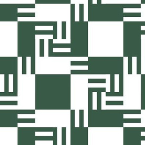 Whirling Counterchange Blocks in Pine Green and White