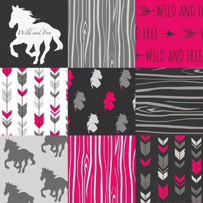 #2 Horses Patchwork - Fuchsia, Black And Grey