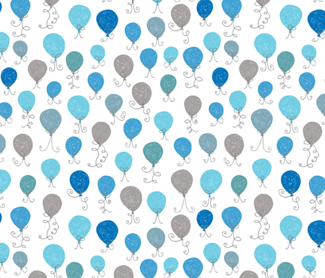 Balloons Blue fabric by christinewitte on Spoonflower - custom fabric