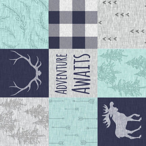 Adventure Awaits Patchwork - Navy, Mint and grey w moose - ROTATED