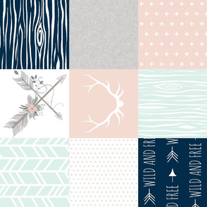 BoHo Quilt - Navy, blush, and mint - ROTATED