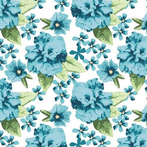 Turquoise Teal Hibiscus Rose Small