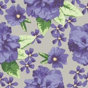 Violet Lavender Gray Hibiscus Rose Large