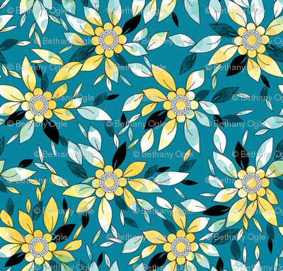 Large Flower Summer Print in Blue and Yellow
