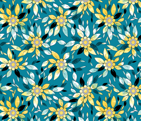 Large Flower Summer Print in Blue and Yellow fabric by amborela on Spoonflower - custom fabric