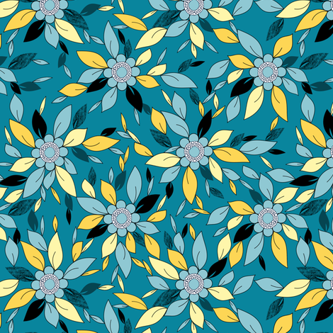 Blue and Yellow Flowers and Leaves Floral Print fabric by amborela on Spoonflower - custom fabric