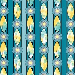 Border Stripes, Blue and Yellow Flowers and Leaves