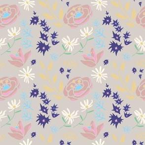 Spring Floral on Linen