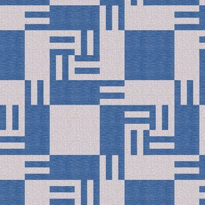 Blue and Gray Whirling Counterchange Blocks