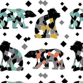 colourful patterened bears