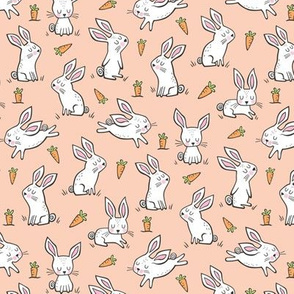 Bunnies Rabbits & Carrots On Peach Smaller 1,5 inch
