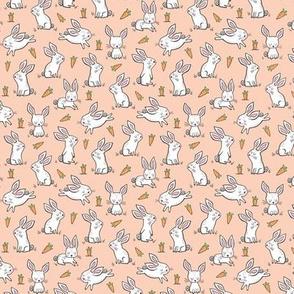 Bunnies Rabbits & Carrots On Peach Tiny Small 1 inch