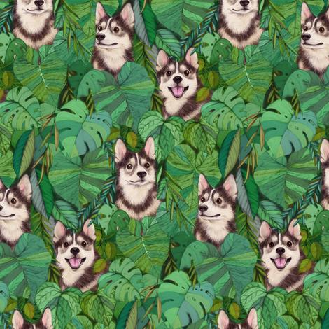 Pomsky Garden - small fabric by micklyn on Spoonflower - custom fabric