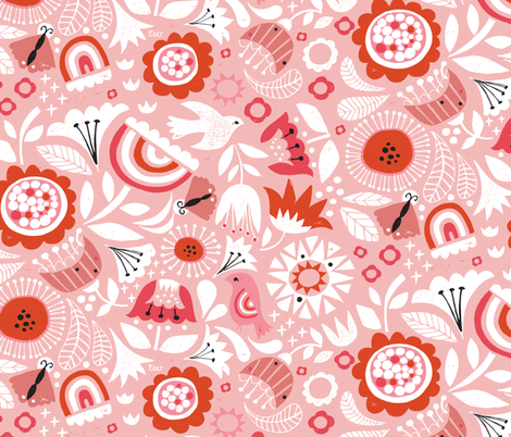 Linocut Vintage Floral Pink fabric by christinewitte on Spoonflower - custom fabric
