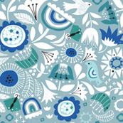 Linocut Vintage Floral Blue