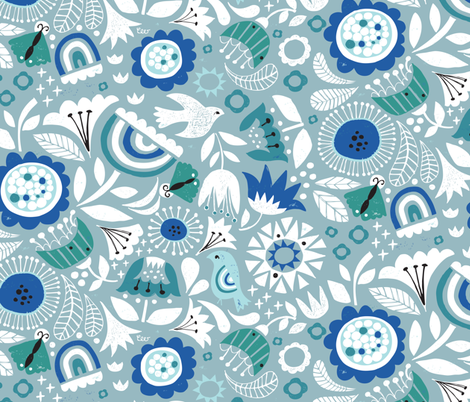 Linocut Vintage Floral Blue fabric by christinewitte on Spoonflower - custom fabric