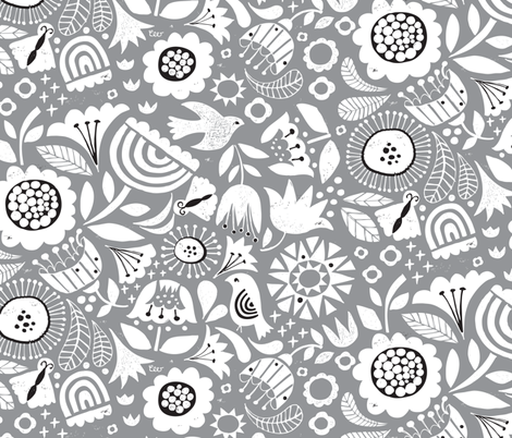 Linocut Vintage Floral Grey fabric by christinewitte on Spoonflower - custom fabric