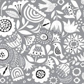 Linocut Vintage Floral Grey