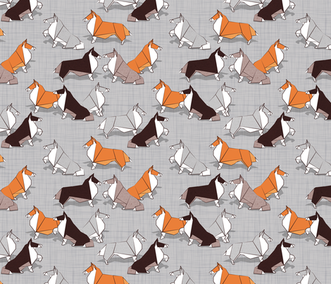 Origami Collie friends // grey linen texture background white orange & brown paper and cardboard dogs fabric by selmacardoso on Spoonflower - custom fabric