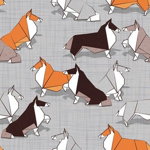 Origami Collie friends // grey linen texture background white orange & brown paper and cardboard dogs