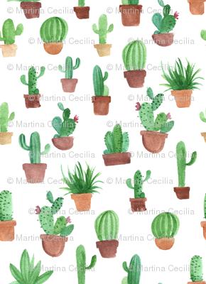 Watercolor cactus pots
