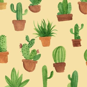 Watercolor cactus pots - cream
