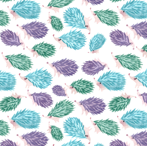 Sweet hedgehog watercolor for gender neutral nursery decor fabric by aliceelettrica on Spoonflower - custom fabric