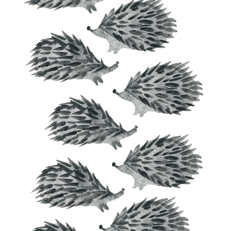 Sweet hedgehog watercolor - scandinavian black and white fabric by aliceelettrica on Spoonflower - custom fabric