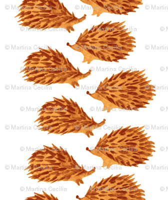 Sweet hedgehog watercolor for gender neutral nursery decor - scandinavian orange