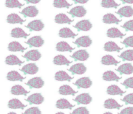Sweet hedgehog watercolor for nursery decor - pink and mint fabric by aliceelettrica on Spoonflower - custom fabric