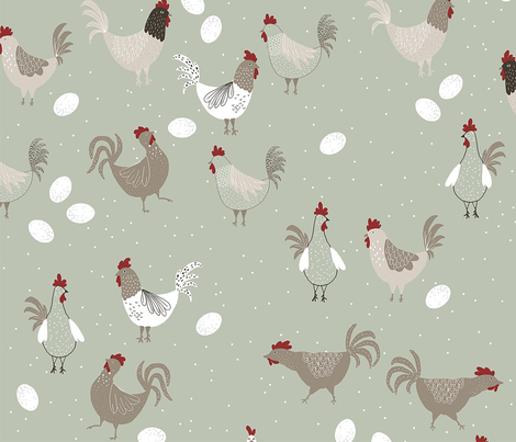 Happy rooster fabric by ditut on Spoonflower - custom fabric