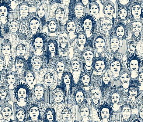 WOMEN OF THE WORLD BLUE fabric by scrummy on Spoonflower - custom fabric