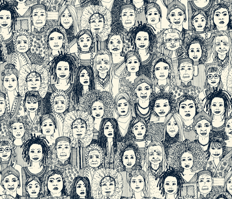 WOMEN OF THE WORLD INDIGO fabric by scrummy on Spoonflower - custom fabric