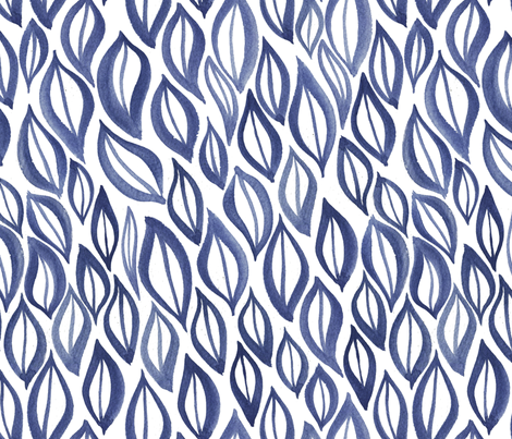 Hand drawn watercolor ikat - indigo leaves fabric by aliceelettrica on Spoonflower - custom fabric